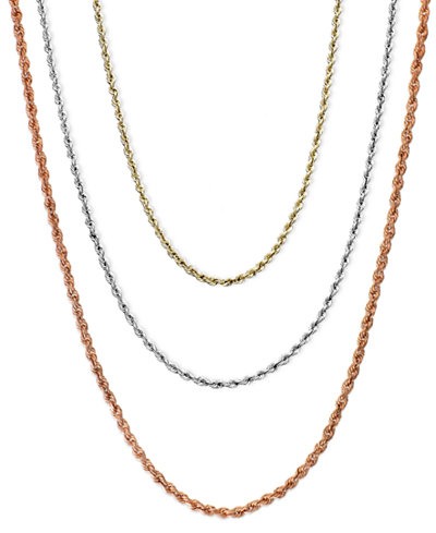 18 30 rope chain necklaces in 14k gold white gold or rose gold 18 30 rope chain necklaces in 14k gold white gold or rose gold mozeypictures Choice Image