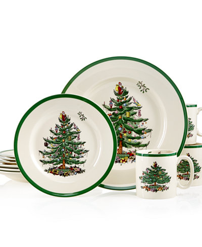 spode christmas tree 12 pc dinnerware set service for 4 - 4 Christmas Tree