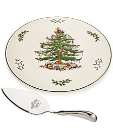 Serveware, Christmas Tree Cake Plate with Metal Server