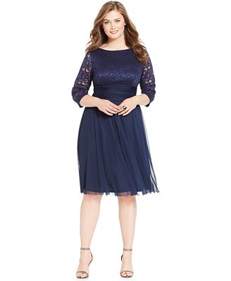 Jessica Howard Plus Size Lace Ruched Dress Dresses