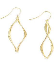 Italian Gold Wavy Teardrop Earrings in 14k Gold