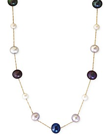EFFY® Multi-Color Cultured Freshwater Pearl Station Necklace in 14k Gold (6mm)