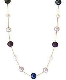 EFFY Multi-Color Cultured Freshwater Pearl Station Necklace in 14k Gold (6mm)