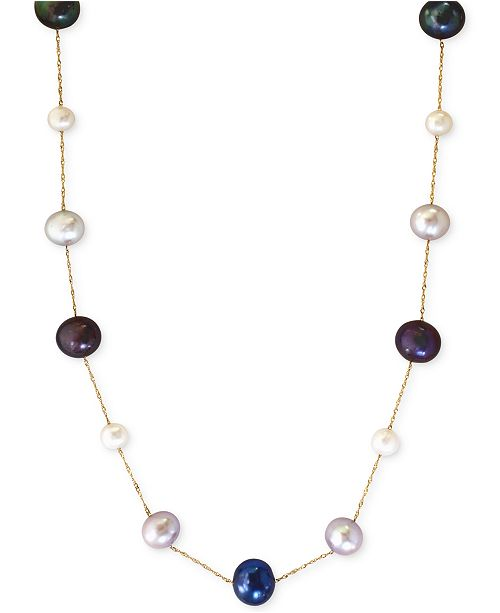 EFFY Collection EFFY® Multi-Color Cultured Freshwater Pearl Station Necklace in 14k Gold (6mm)
