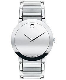 Movado Men's Swiss Sapphire Stainless Steel Bracelet Watch 38mm 0606093