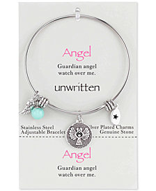 Unwritten Angel Charm and Amazonite (8mm) Bangle Bracelet in Stainless Steel