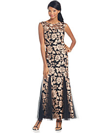 Alex Evenings Floral Soutache Gown