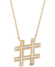 Wrapped™ Hashtag Diamond Pendant Necklace (1/10 ct. t.w.) in 10k Gold, Created for Macy's