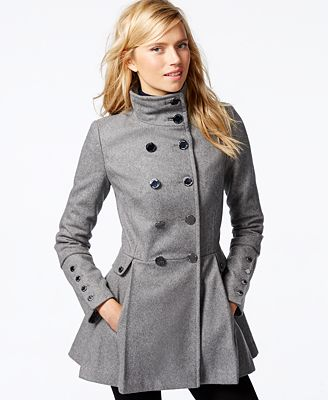 Calvin Klein Stand-Collar Pleated Peacoat - Coats - Women - Macy's