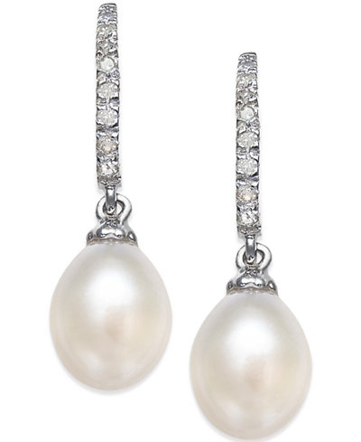 Cultured Freshwater Pearl (6-1/2-7mm) and Diamond (1/10 ct. t.w.) Drop Earrings in Sterling Silver