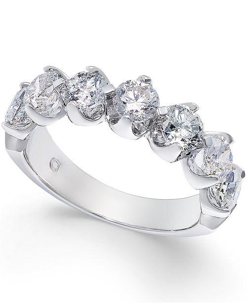Macy's Certified Diamond Scalloped Ring (2 ct. t.w.) in 14k White Gold