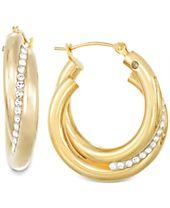 Signature Gold™ Crystal Interlocked Hoop Earrings in 14k Gold over Resin