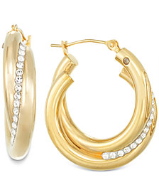 Signature Gold™ Crystal Interlocked Hoop Earrings in 14k Gold over Resin