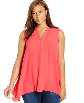 Alfani Plus Size Sleeveless Handkerchief Hem Blouse Tops
