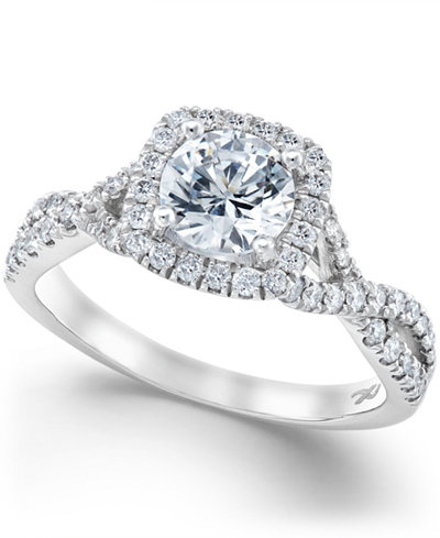 X3 Diamond Twist Shank Ring in 18k White Gold (1-1/2 ct. t.w.), Created for Macy's