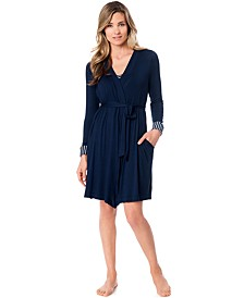 Nursing Striped Nightgown And Robe