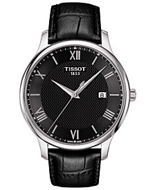 Tissot Men's Swiss Tradition Black Leather Strap Watch 42mm T0636101605800