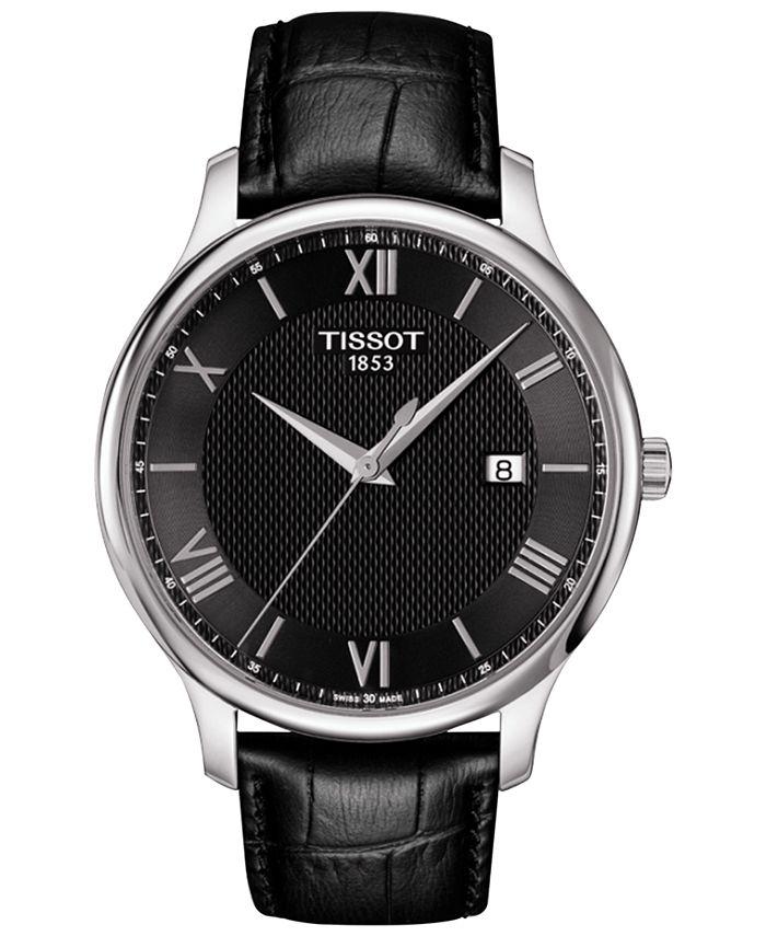Tissot - Men's Swiss Tradition Black Leather Strap Watch 42mm T0636101605800