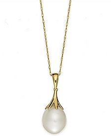Cultured Freshwater Pearl (9mm) Claw Pendant in 14K Gold