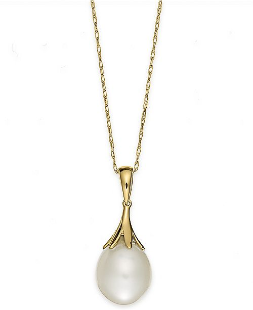 Macys cultured freshwater pearl 9mm claw pendant in 14k gold main image aloadofball Gallery