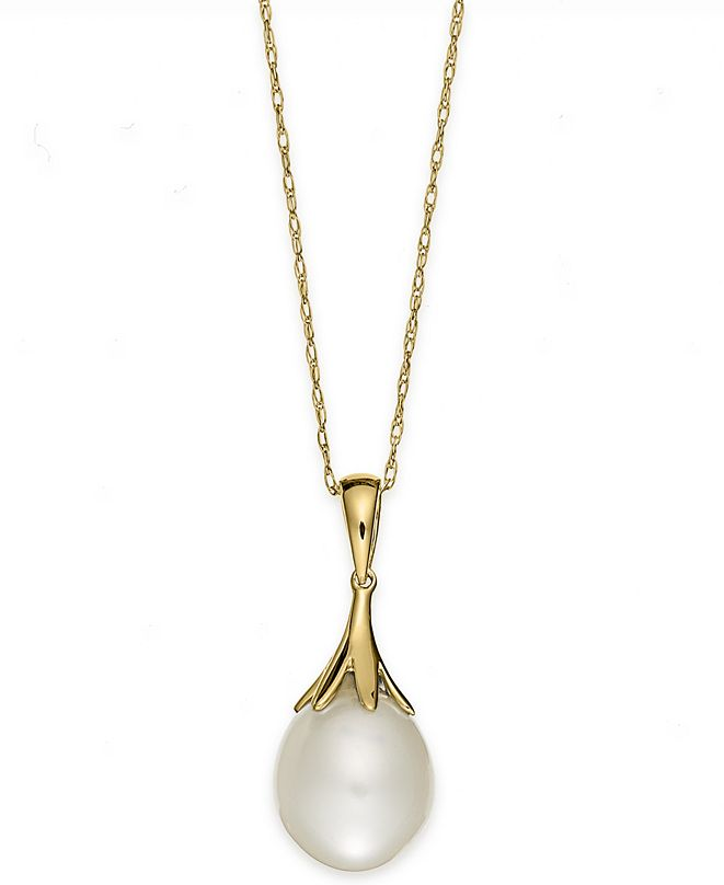 """Macy's Cultured Freshwater Pearl (9mm) Claw Pendant Necklace (18"""") in 14k White Gold ( Also available in 14k Yellow Gold or 14K Rose Gold)"""