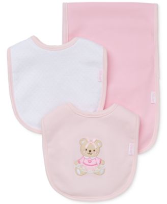 Baby Girls 3-Piece Sweet Bear Bib & Burp Cloth Set