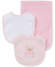 Little Me Baby Girls 3-Piece Sweet Bear Bib & Burp Cloth Set
