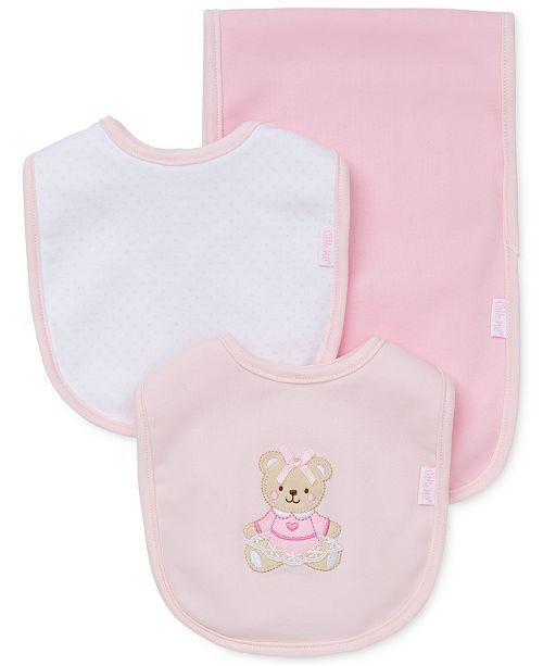 Little Me Baby Girls 3-Piece Sweet Bear Bib & Burp Cloth Set