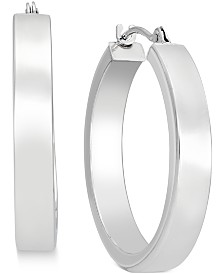 Bold Hoop Earrings in 10k White Gold