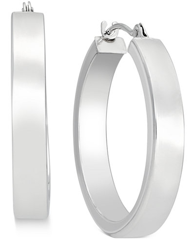 Bold Hoop Earrings in 10k White Gold