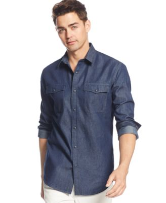 Denim Shirt Mens Button Down