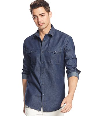 American Rag Men's Denim Shirt, Only at Macy's - Casual Button ...
