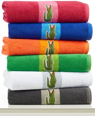Image of CLOSEOUT! Lacoste Signature Logo Bath Towel, 100% Terry Cotton