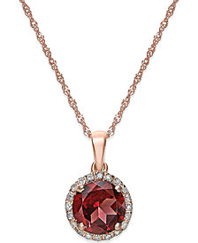 Semi-Precious Stone and Diamond Halo Pendant Necklaces in 14k White, Yellow or Rose Gold