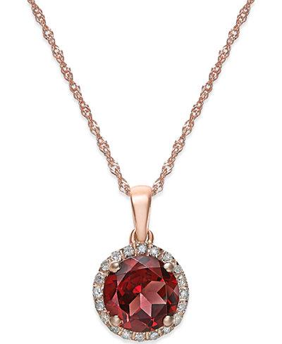 Semi-Precious Stone and Diamond Halo Pendant Necklaces in 14k White, Yellow or Rose Gold