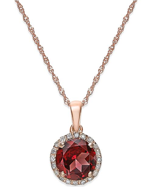 Macy's Garnet (1-1/2 ct. t.w.) and Diamond Accent Pendant Necklace in 14k Rose Gold
