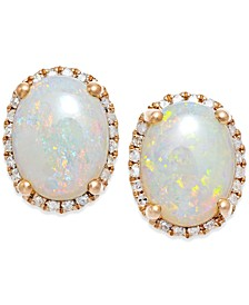 Opal (2 ct. t.w.) and Diamond (1/6 ct. t.w.) Stud Earrings in 14k Rose Gold