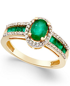 Emerald (1-1/3 ct. t.w.) and Diamond (1/4 ct. t.w.) Ring in 14k Gold (Also in Sapphire & Certified Ruby)