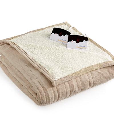 Biddeford Microplush Reverse Faux Sherpa Heated Twin Blanket