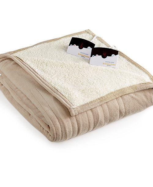 Biddeford Microplush Reverse Faux Sherpa Heated Queen Blanket