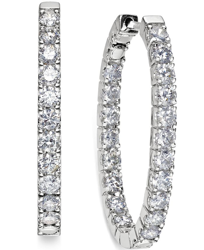 Macy's - In-and-Out Diamond Hoop Earrings (3 ct. t.w.) in 14k White Gold