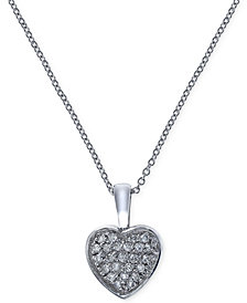 EFFY Diamond Heart Pendant Necklace (1/5 ct. t.w.) in 14k White Gold