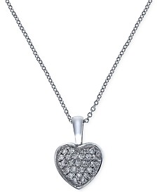 EFFY® Diamond Heart Pendant Necklace (1/5 ct. t.w.) in 14k White Gold
