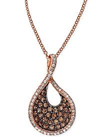 EFFY® Espresso Diamond Swirl Pendant Necklace (1/2 ct. t.w.) in 14k Rose Gold