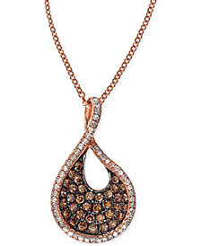 EFFY Espresso Diamond Swirl Pendant Necklace (1/2 ct. t.w.) in 14k Rose Gold