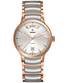 Rado Men's Swiss Automatic Centrix Rose Gold-Tone PVD and Stainless Steel Bracelet Watch 38mm R30158113