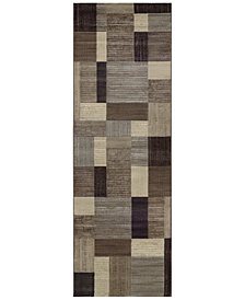 "Couristan Area Rug, Taylor Geometrics Brown-Multi 2'7"" x 7'10"" Runner Rug"
