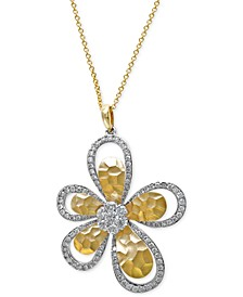 D'Oro by EFFY® Diamond Flower Pendant Necklace (1 ct. t.w.) in 14k White and Yellow Gold