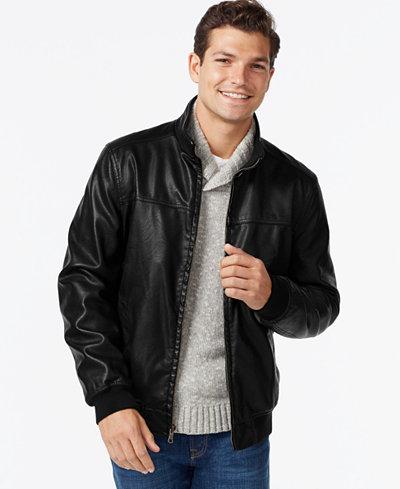 Tommy Hilfiger Faux-Leather Bomber Jacket - Coats & Jackets - Men ...