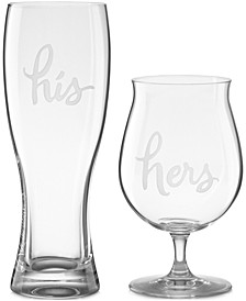 Two of a Kind His & Hers Beer Glasses, Set of 2